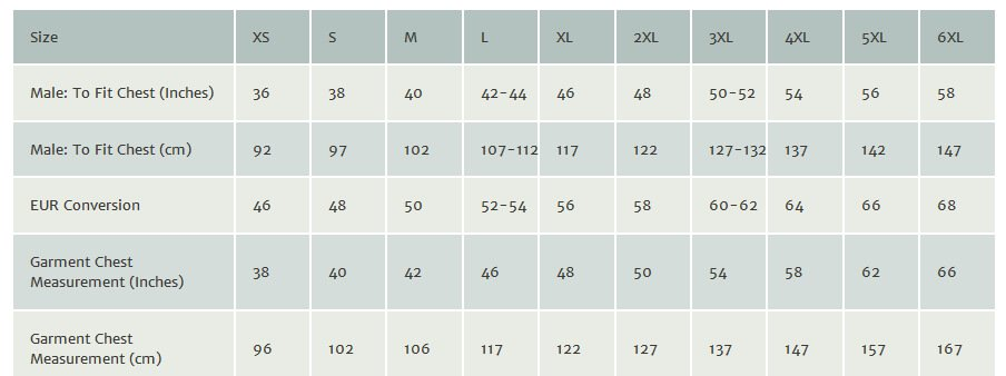 Uneek clothing size guide