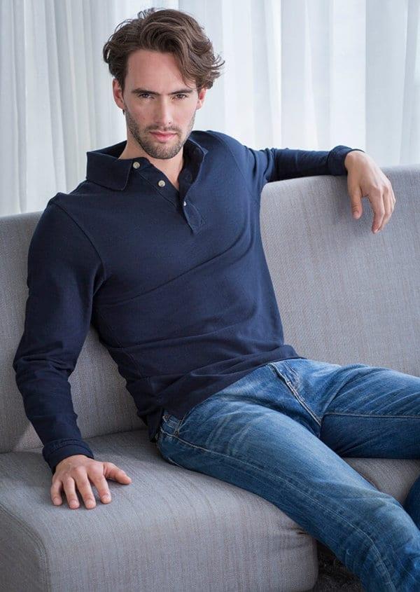 Hb105 long sleeve henbury polo shirt