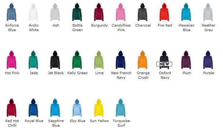 Girlie College Hoodie colours